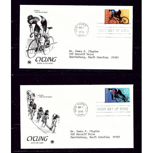 U.S. 3119a and b 1996 First Day Covers Cycling singles