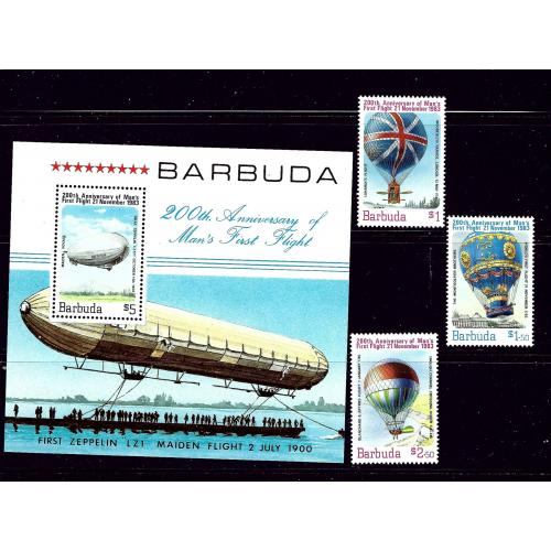 Barbuda 578-81 MNH 1983 Manned Flight Bicentennial