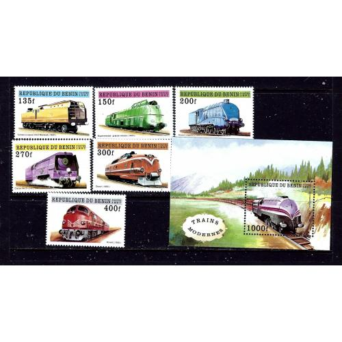 Benin 959-65 MNH 1997 Trains complete set  #2