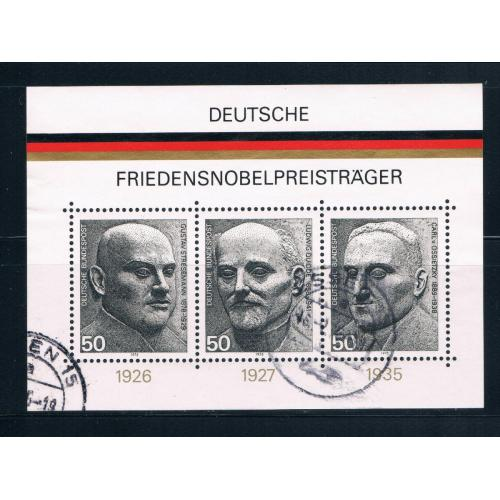 Germany 1203 Used Souvenir Sheet Nobel peace prize winners CV 1.90 (G0163)