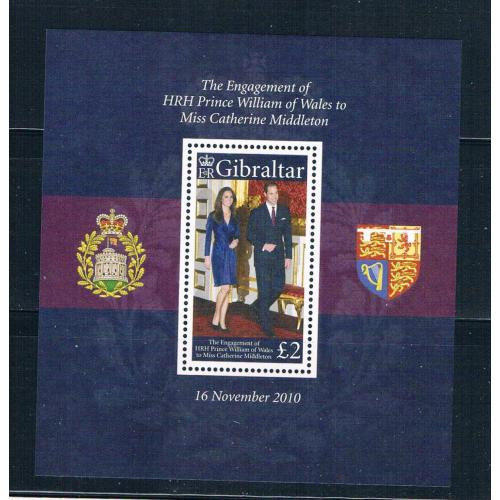 Gibraltar 1266 MNH SS Engagement of Prince William 2011 CV 9.50 (G0330)+