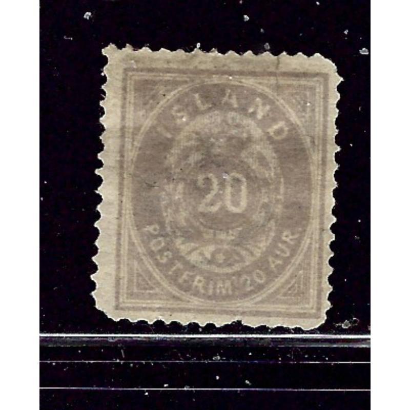 Iceland 13 No Gum 1876 issue few short perfs  heavy hinge remnants