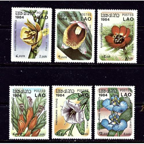 Laos 554-60 MNH 1984 Flowers