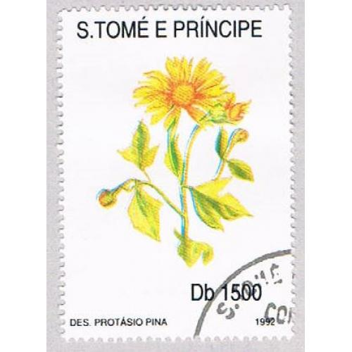 Saint Thomas and Prince Is 1054J Used Yellow Flower CV 8.75 (BP20410)