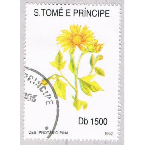 Saint Thomas and Prince Is 1054J Used Yellow Flower CV 8.75 (BP2049)