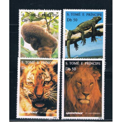 Saint Thomas and Prince Is 1237-40 MNH set Greenpeace Animals CV 15.00 (S0673)+