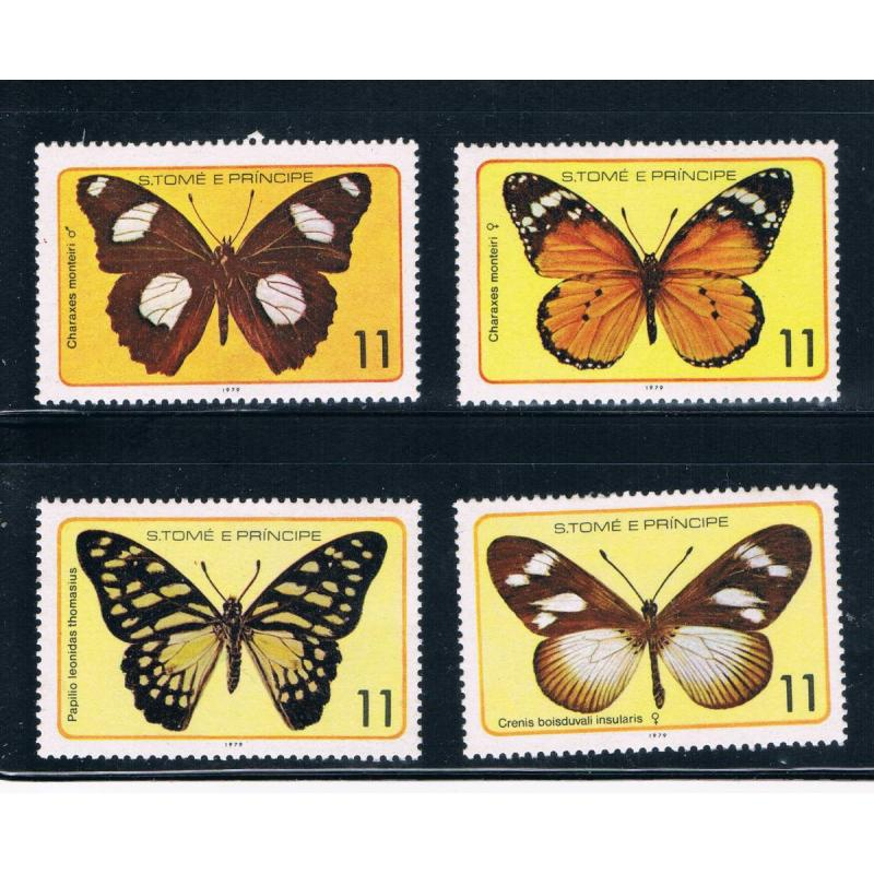Saint Thomas and Prince Is 505a-d MNH Butterflys (GI0418)+
