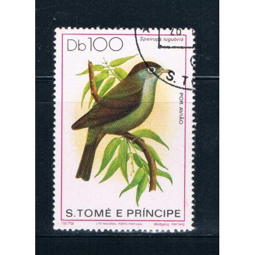 Saint Thomas and Prince Is 546 Used Bird Speirops lugubris CV 16.00 (S0695)