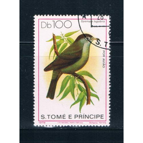 Saint Thomas and Prince Is 546 Used Bird Speirops lugubris CV 16.00 (S0696)
