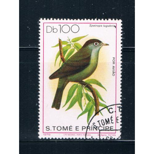 Saint Thomas and Prince Islands 546 Used Bird Speirops lugubris CV 16.00 (S0697)