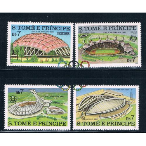 Saint Thomas and Prince Is 572a-d MNH set Olympic Venues CV 9.00 (GI0441)+