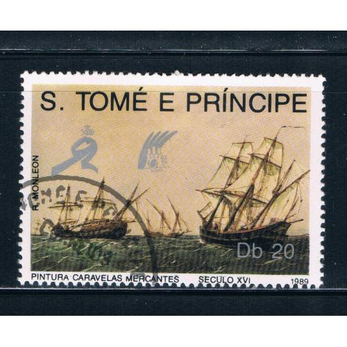 Saint Thomas and Prince Is 891 Used Ships at sea ul (GI0341)+