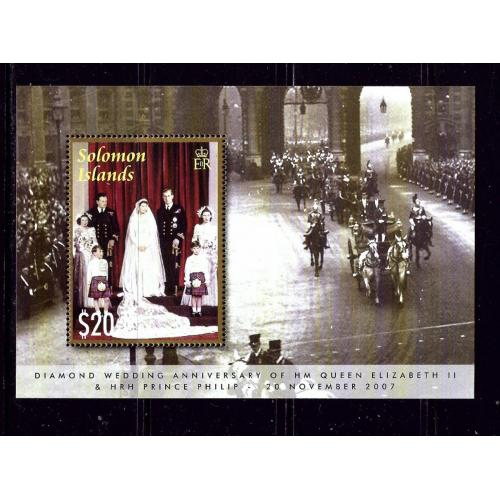 Solomon Is 1094 MNH 2007 QEII 60th Wedding Anniversary S/S