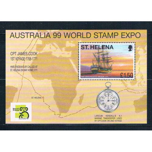St Helena 732 MNH ss Endeavour at anchor 1999 CV 9.75 (S0949)+