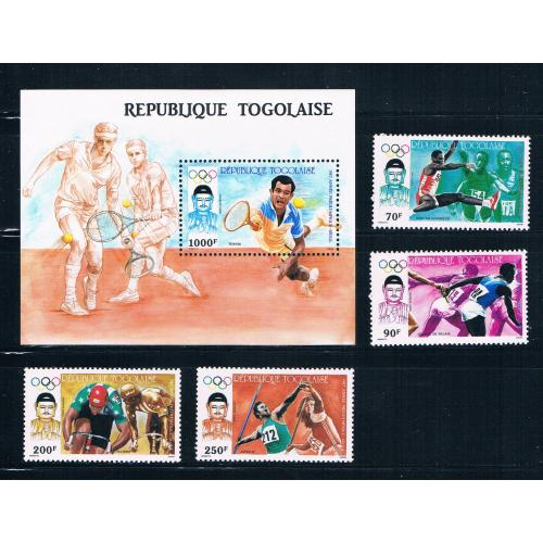 Togo 1439-43 MNH set and SS Summer Olympics 1987 CV 12.85 (T0091)