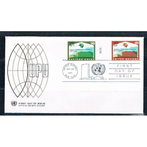 UN 18;219 FDC pair Geneva and NY Joint Issue 1971 (UNCV0352)+