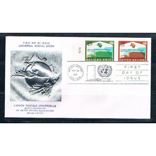 UN 18;219 FDC pair Geneva and NY Joint Issue 1971 (UNCV0351)+