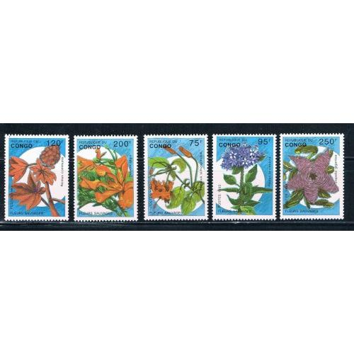 Congo MNH Set 1016-1020 Flowers Cat Val $17.75 (ML0218)