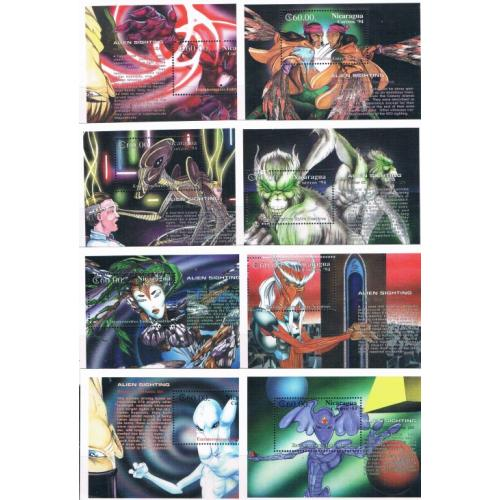 Nicaragua 2020-2087 Alien Sightings Set of 8 MNH SS Cat Val $170 (ML0272)