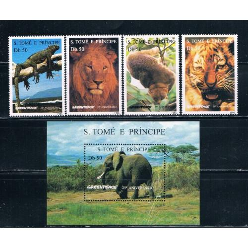 St. Thomas and Prince Islands 1237-42 Set and SS MNH Animals Cat Val 26.00 (S0143)