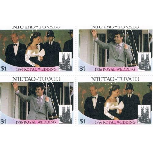 Tuvalu Niutao 52a-b Pair MNH Blk 4 Royal Wedding 1986 Cat Val 4.00 (T0018)