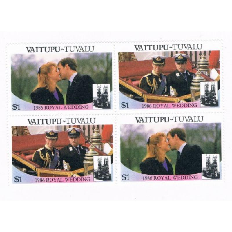 Tuvalu Vaitupu 66a-b Pair MNH Blk 4 Royal Wedding 1986 Cat Val 4.00 (T0021)