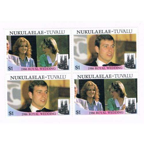 Tuvalu Nukulaelae 62a-b Pair MNH Blk 4 Royal Wedding 1986 Cat Val 4.00 (T0022)