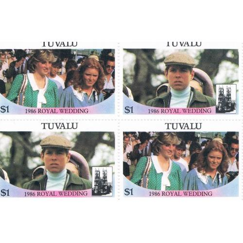 Tuvalu 382a-b Pair MNH Blk 4 Royal Wedding 1986 Cat Val 5.00 (T0024)