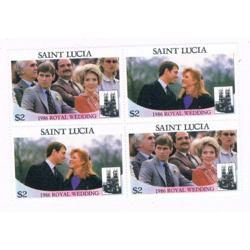 St Lucia 840a-b Pair MNH Blk 4 Royal Wedding 1986 Cat Val 6.00 (S0144)