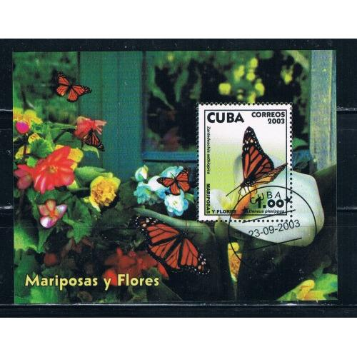 Cuba 4337 Souvenir sheet Used Butterfly Cat Val 1.50 (C0023)