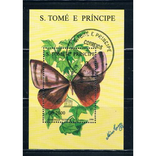 St Thomas and Prince Islands 1279 Souvenir Sheet Used Butterflies Cat Val 10.00 (S0151)+
