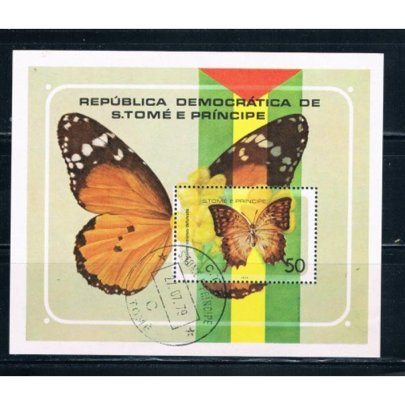 St Thomas and Prince Islands 507 Souvenir Sheet Used Butterflies Cat Val 13.50 (S0152)