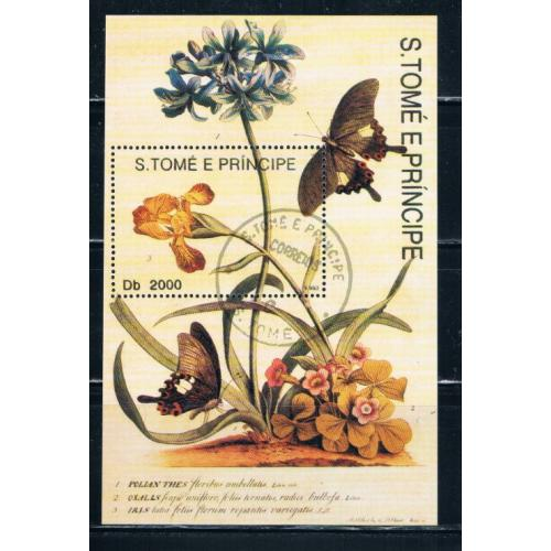 St Thomas and Prince Islands 1104 Souvenir Sheet Used Butterflies Cat Val 18.00 (S0153)+