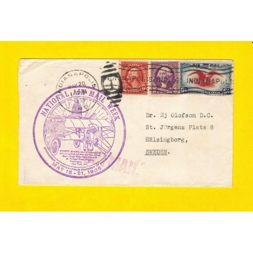 1938 US Sc #C23-6Cent And (Scott#634/720)-2Cent AND 3Cent  Air Mail Week Cover With Cachet PF Cert No.527816