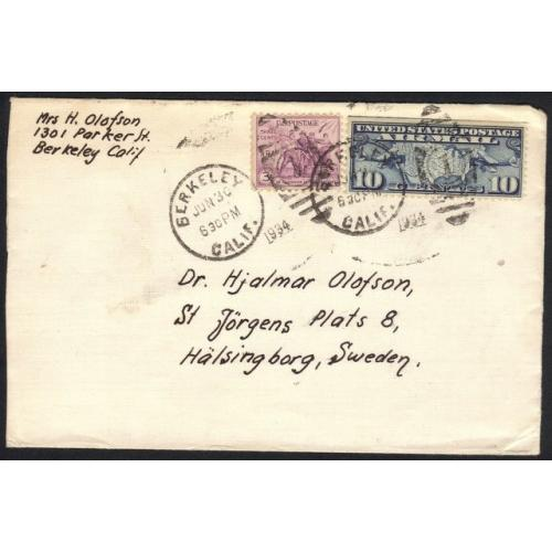 1934 AIR MAIL POSTAL COVER SC #C7 AND SC #732 BERKELEY CALIF. TO SWEDEN VF