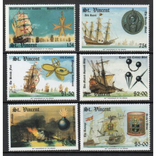 St. Vincent - 1988 - Ships, Sc.#1100-1105, MNH - Cat.$ 7.30