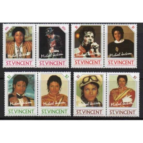 Grenadines of St. Vincent -1985 - Michael Jackson, Sc.#894-897, MNH - Cat.$ 6.70